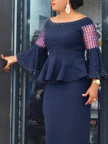 Navy Blue Patchwork Grenadine Pearl Ruffle Peplum Two Piece Bell Sleeve Bodycon Elegant Midi Dress