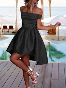 Black Off Shoulder Pleated High-Low Backless Tutu Homecoming Party Cute Mini Dress