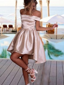 Pink Off Shoulder Pleated High-Low Backless Tutu Homecoming Party Cute Mini Dress
