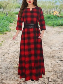 Red Plaid Buffalo Belt Draped High Waisted Oversize Country Elegant Fiesta Party Maxi Dress