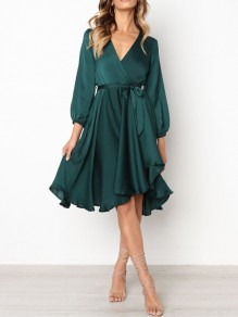 Green Pleated Sashes Irregular V-neck High Waisted Flowy Elegant Homecoming Party Midi Dress