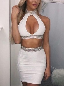White Sequin Glitter Bright Wire Cut Out Two Piece Clubwear Party Mini Dress