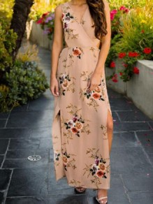 Khaki Floral Bow Cut Out Pleated V-neck Sleeveless Casual Maxi Dress