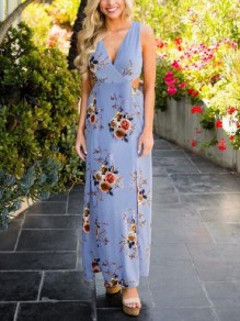 Light Blue Floral Bow Cut Out Pleated V-neck Sleeveless Casual Maxi Dress