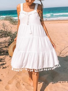 White Patchwork Tassel Square Neck Sleeveless Boho Beach Midi Summer Dress