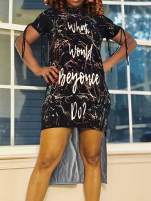 """Black Starry Sky""""WHAT WOULD BEYOUCE DO? ' Print Cut Out Tassel High-Low Casual Homecoming Party Maxi Dress"""