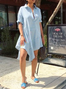 Light Blue Plaid Single Breasted Irregular Ruffle Turndown Collar Casual Midi Dress