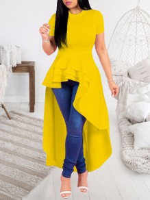 Yellow Ruffle Irregular Peplum High Waisted High-low Elegant Prom Homecoming Maxi Dress