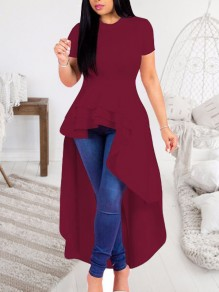 Burgundy Ruffle Irregular Peplum High Waisted High-low Elegant Prom Homecoming Maxi Dress