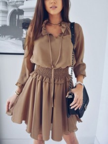 Brown Drawstring Ruffle Long Sleeve Midi Dress