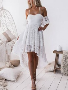 White Lace Irregular Short Sleeve Casual Polyester Mini Dress