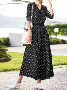 Black Polka Dot Single Breasted Pockets Sashes Slit Country Bohemian Party Maxi Dress