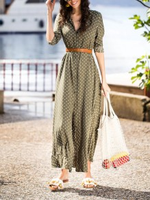 Green Polka Dot Single Breasted Pockets Sashes Slit Country Bohemian Party Maxi Dress