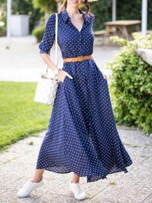 Navy Blue Polka Dot Single Breasted Pockets Sashes Slit Country Bohemian Party Maxi Dress