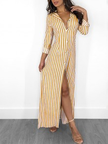 Yellow White Striped Buttons V-neck Fashion Maxi Dress