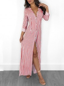 Red White Striped Buttons V-neck Fashion Maxi Dress