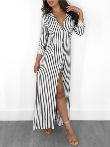 Black White Striped Buttons V-neck Fashion Maxi Dress