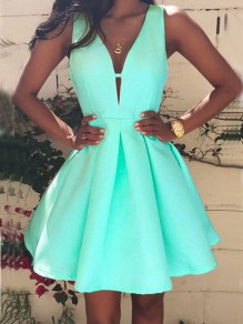 Mint Green Pleated Deep V-neck High Waisted Tutu Cute Homecoming Party Mini Dress