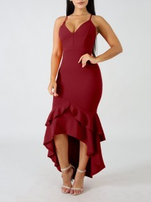 Burgundy Spaghetti Strap Cascading Ruffle High-Low Irregular Deep V-neck Backless Elegant Homecoming Party Maxi Dress
