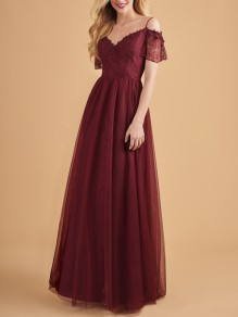 Burgundy Patchwork Lace Draped High Waited Spaghetti Strap V-neck Elegant Party Maxi Dress