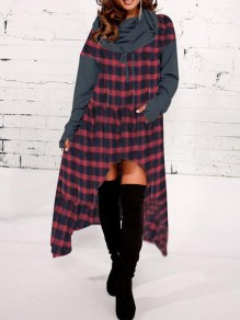 Red-Black Plaid Drawstring Irregular Pockets High-low Cowl Neck Hooded Casual Maxi Dress