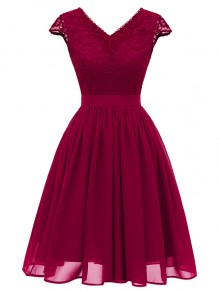 Wine Red Patchwork Lace Backless V-neck Party Midi Dress