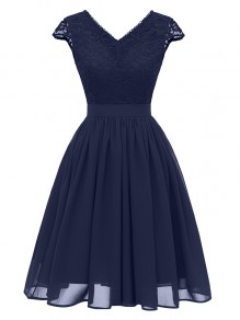 Navy Blue Patchwork Lace Backless V-neck Party Midi Dress