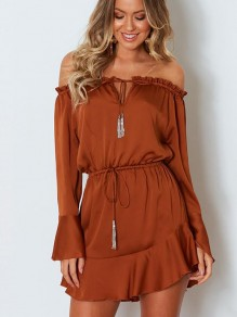 Brown Bow Long Sleeve Boat Neck Sweet Going out Mini Dress