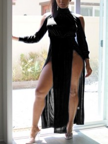 Black Halter Neck Cut Out Backless Long Sleeve Side Slits Clubwear Party Maxi Dress
