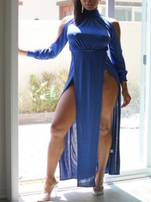 Blue Halter Neck Cut Out Backless Long Sleeve Side Slits Clubwear Party Maxi Dress