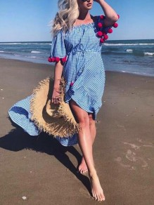 Blue-White Plaid Hairball Ruffle Irregular Off Shoulder Backless High-low Bohemian Maxi Dress