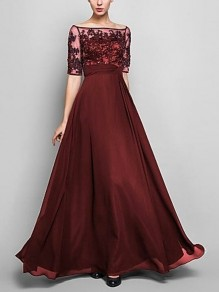 Burgundy Lace Off Shoulder Elbow Sleeve Plus Size Draped Elehant Wedding Gowns Bridesmaid Prom Homecoming Party Maxi Dress