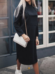 Black Pockets Hooded Long Sleeve Fashion Midi Dress