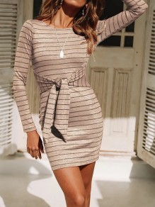 Apricot Striped Sashes Long Sleeve Casual Mini Dress