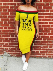 Yellow Striped Pattern I Am One Dope Chick Pattern Off Shooulder Casual Maxi Dress