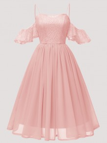 Pink Patchwork Lace Ruffle Pleated Spaghetti Strap Chiffon Midi Dress