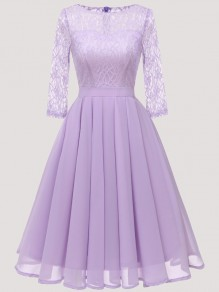 Purple Patchwork Lace Pleated Round Neck Long Sleeve Midi Dress