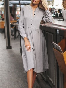 Grey Single Breasted Long Sleeve Casual Midi Dress