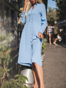Blue Single Breasted Long Sleeve Casual Midi Dress