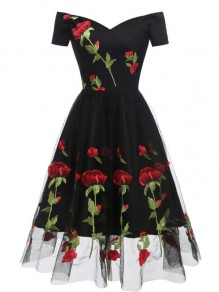Black Floral Off Shoulder Embroidery Grenadine Pleated Tutu Mexican Elegant Homecoming Party Midi Dress