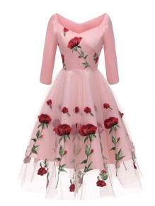 Pink Floral Off Shoulder Embroidery Grenadine Pleated Tutu Mexican Elegant Homecoming Party Midi Dress