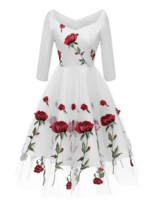 White Floral Off Shoulder Embroidery Grenadine Pleated Tutu Mexican Elegant Homecoming Party Midi Dress