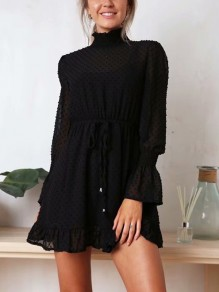 Black Drawstring Ruffle Long Sleeve Casual Mini Dress