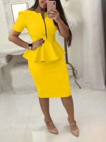 Yellow Ruffle Zipper Short Sleeve Peplum Plus Size Office Worker Elegant Midi Dress