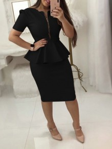 Black Ruffle Zipper Short Sleeve Peplum Plus Size Office Worker Elegant Midi Dress