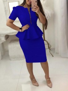 Blue Ruffle Zipper Short Sleeve Peplum Plus Size Office Worker Elegant Midi Dress