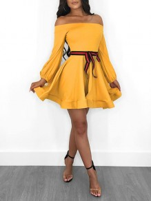 Yellow Off Shoulder Belt Pleated Tutu Long Sleeve Cute Homecoming Party Mini Dress
