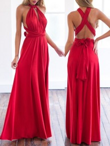 Red Cross Pleated Sashes Multi Way Deep V-neck Backless Chiffon Flowy Bridesmaid Gown Maxi Dress