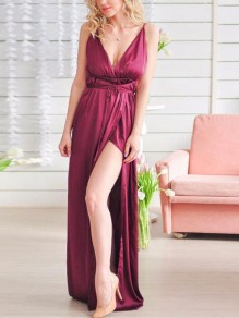 Burgundy Cross Irregular Slit Side Spaghetti Strap Deep V-neck Backless Flowy Elegant Gown Maxi Dress
