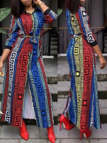 Colorful African Floral Striped Sashes Single Breasted Slit Long Sleeve Bohemian Streetwear Maxi Dress